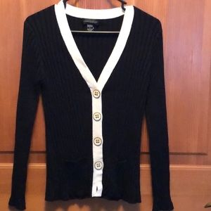 Cable and Gauge black button up sweater
